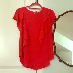 LOFT- red ruffle sleeve top with keyhole back